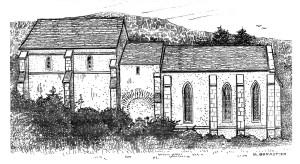 Prieuré : reconstitution Xme XIIIme siècles - Dessin Michel Barastier