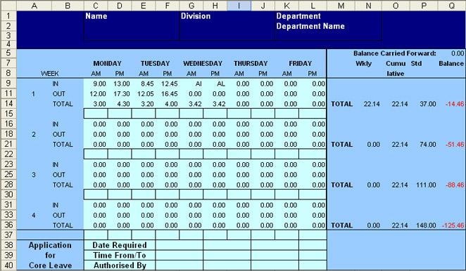Excel flexi time spread sheet calculator - time spreadsheets