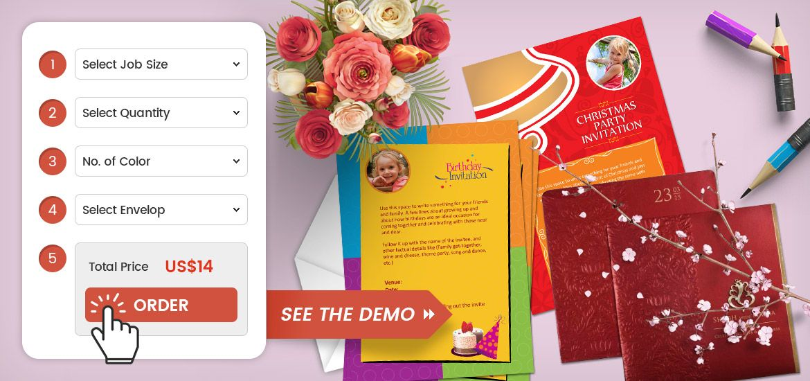 Web To Print Software For Wedding Card / Invitation Card