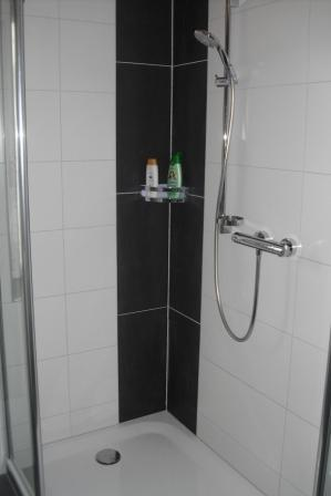 Bodenfliesen im Eckbereich der Dusche geplant und verlegt - dusche fliesen