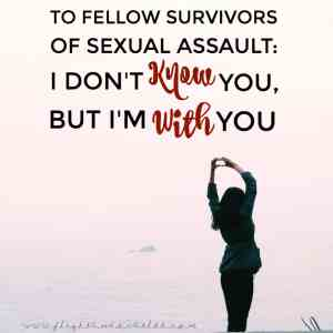 To Fellow Survivors of Sexual Assault: I Don't Know You, But I'm With You