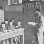 Rabbi Samuel Cywiak's father, Rabbi Baruch Cywiak, teaching Hebrew to his students. Young Samuel is believed to be in the back row, second from the left. Photo courtesy of Israel Pshetitsky of the Wyszków Association in Israel.