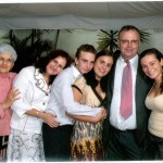 Rabbi's youngest child, his son Baruch, with his family: Baruch's mother-in-law Fanny, wife Lya, son Mendy, daughter Carolina, Baruch, and oldest daughter Vanessa.