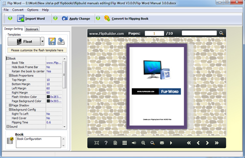 Flip Word Manual template settingsFlipBuilder - software manual template