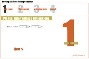 calculator, tile estimator, SunTouch heating calculator, SunTouch heating estimator, conversion, tile calculator, area of floor, cost calculator, radiant floor heat cost, tile design tool, tile patterns