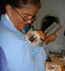 Charlie on the plane with my mom