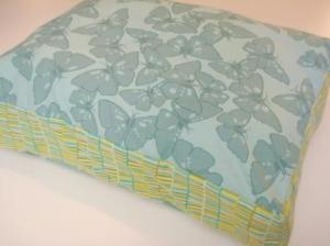 Medium Pet Bed in Teal and Green Stripes and Butterflies $60