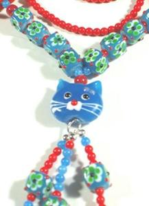 Blue and Read Cat Necklace