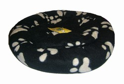 Fleece Paw Print Snuggle Cat Bed-18-inch