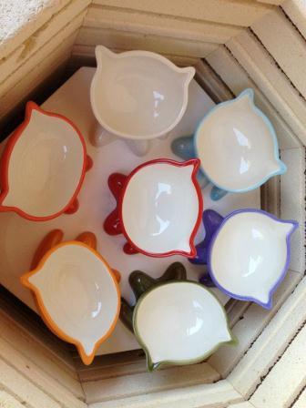 Popflux Ceramic MeowChow Bowls in kiln