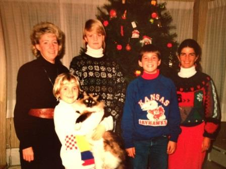 Family photo of me holding Halston, My Aunt Nicky's Ragdoll that I was obsessed with.  Man, he was a cool cat.
