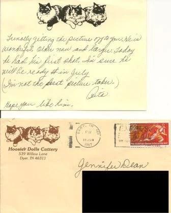 Hoosier Dolls Cattery Correspondence for Skittles