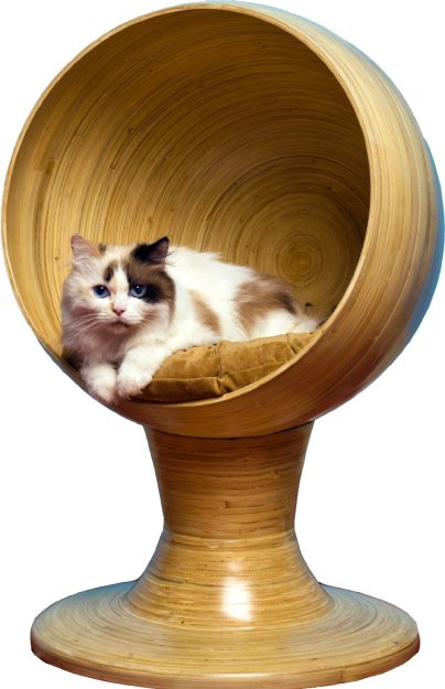 The Refined Feline Kitty Bamboo Ball Bed