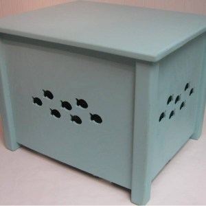 Cat House Combo Bed or Litter Box Cover Fish Design2