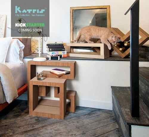 Katris Cardboard Cat Furniture Kickstarter Campaign Wood