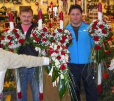 lumanari nunta arad curgatoare cu trandafiri rosii