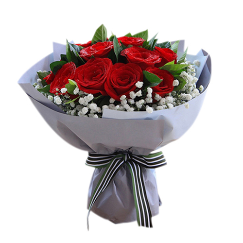 12 Red Roses with Greency Send to Vietnam,Roses Online Order to Vietnam