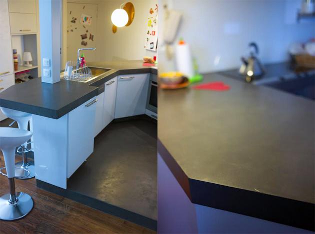 sols et plan de travail en b ton cir couleur platinium. Black Bedroom Furniture Sets. Home Design Ideas