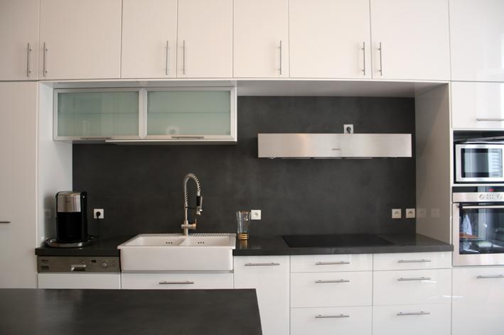 cr dence et plan en b ton cir couleur platinium flore. Black Bedroom Furniture Sets. Home Design Ideas