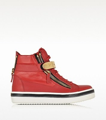 Giuseppe Zanotti Red Nappa Leather High Top Sneaker $475.00