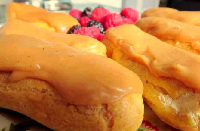Caramel and Cardamom Eclairs with Coffee Cream