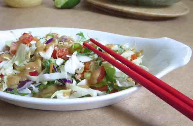 Thai Crunch Salad w Peanut Dressing