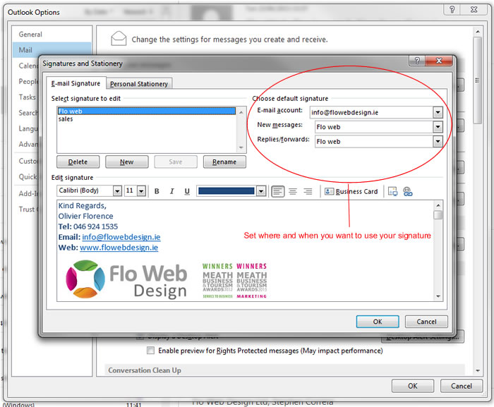 How to set up an email signature Flo Web Design Ltd