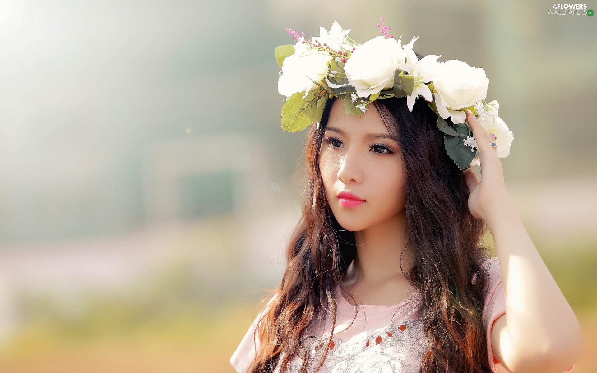 Beautiful Girl Wallpaper For Mobile Make Up Beauty Dbz Rouge Wreath Japanese Girl
