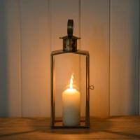 Lantern ~ Brass Style Candle Garden Lantern | Flower ...