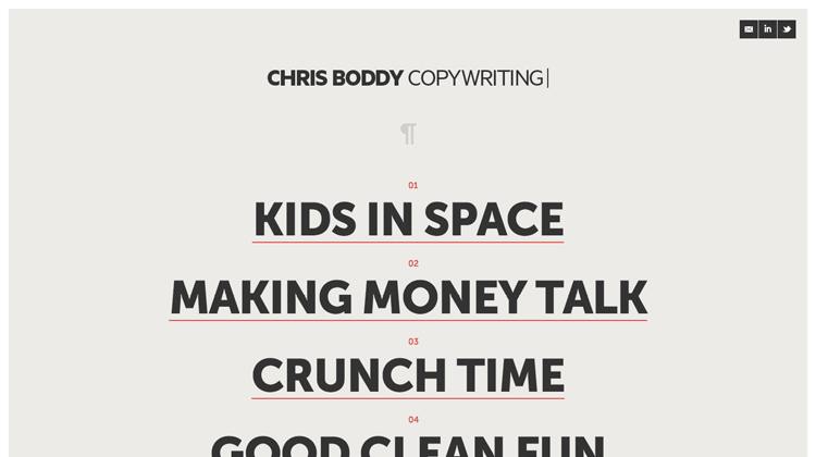Chris Boddy copywriting
