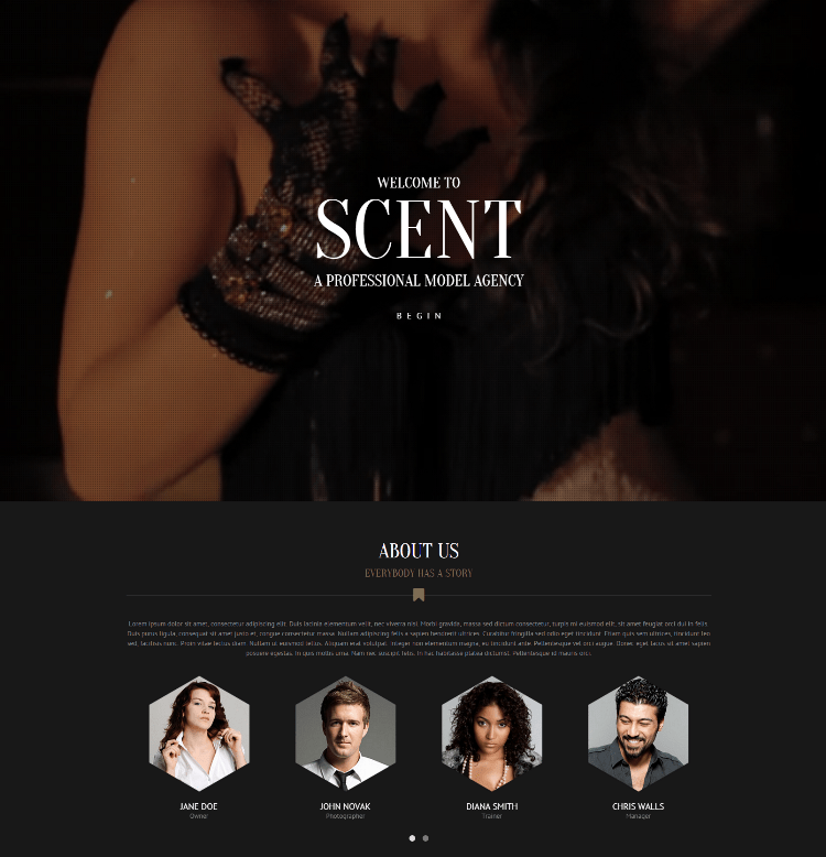Scent-model-agency-theme