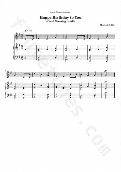 Birthday to You (M.J. Hill) - Free Flute Sheet Music  flutetunes.com