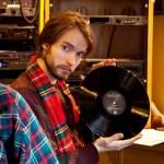 Nat enjoying a vinyl at WFMU