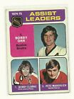 1975 76 O Pee Chee Assist Leaders Bobby Orr Bobby Clarke Pete Mahovlich 209