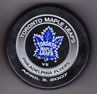 Philadelphia Flyers 2007 Toronto Maple Leafs NHL Puck Purolator Apr 3 2006Tuff