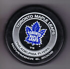 Philadelphia Flyers 2006 Toronto Maple Leafs NHL Puck Purolator Nov 6 2006Tuff
