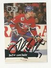 91 92 Pro Set Autographed Hockey Card John LeClair Montreal Canadiens