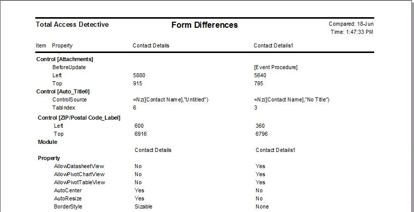 Sample Reports of Microsoft Access Database and Object Comparison - sample report
