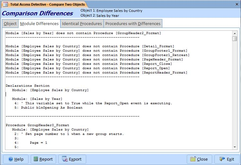 Compare Two Microsoft Access Reports for Differences and Changes to
