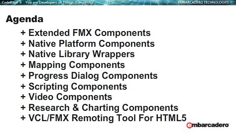 Extended FMX Components  Native Platform Components  Native Library Wrappers  Mapping Components  Progress Dialog Components  Scripting Components  Video Components  Research & Charting Components  VCL/FMX Remoting Tool For HTML5