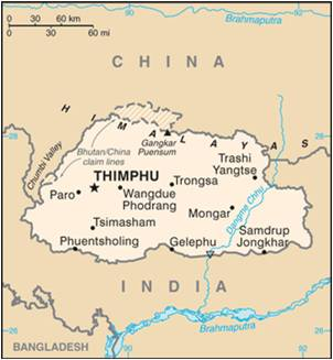 A map of Bhutan showing its borders with Tibet and India as of 2015 (Source: Wikipedia)