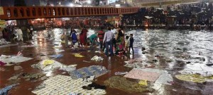 Grave concern: Clothes, plastic sheets and garbage seen littering Har Ki Pauri in Haridwar .