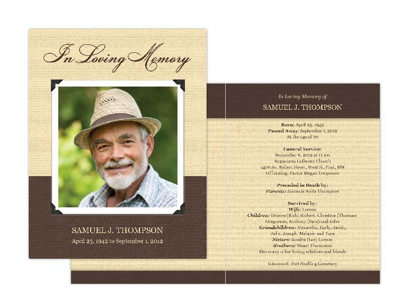 Memorial Cards, Memorial Programs and Memorial Bookmarks - memorial program