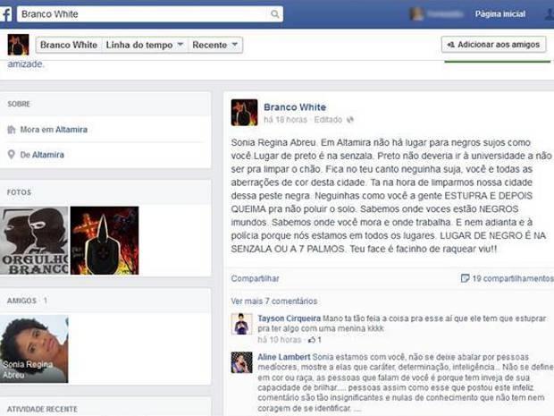 Sonia foi ameçada de morte na última quinta-feira (11). (Foto:reprodução/Facebook)