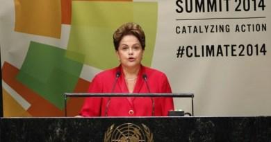 A presidente Dilma Rousseff durante discurso na Cúpula do Clima da Organização das Nações Unidas, nesta terça-feira (23) (Foto: Mike Segar/Reuters)