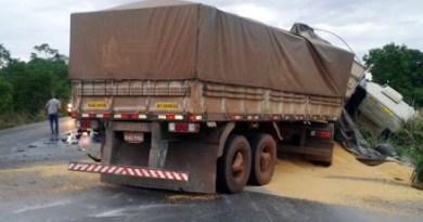 Colisão entre carretas na BR-163 deixa dois motoristas mortos