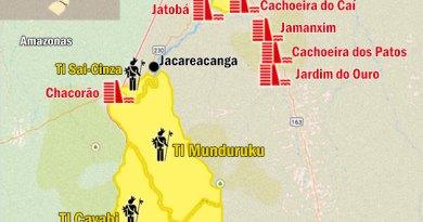 O governo quer construir nove usinas na bacia do Tapajós e Teles Pires. Os impactos devem afetar as terras Munduruku como um todo. Mapa de A Pública