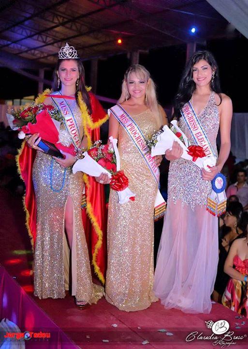 Katrine S. Hoffmann -  Miss Progresso,Esterzynha Ferreira - Eleita Miss Simpatia , Laya Ozanski - Eleita Miss Elegância 2015