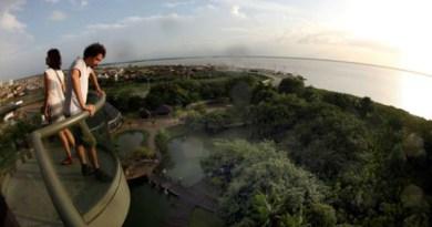A  representação pode ser visualizada com mais precisão de cima do Farol de Belém, torre em estrutura metálica de 47 metros de altura. Foto: Reprodução/Agência Pará