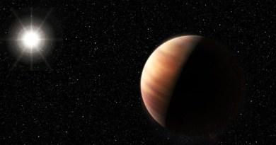 Concepção artística do recentemente descoberto planeta gigante gasoso gêmeo de Júpiter em órbita de uma estrela gêmea do Sol, HIP 11915 (Foto: ESO/M. Kornmesser)